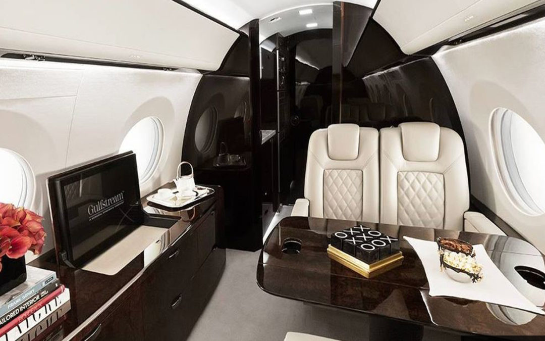 Heavy Cabin Gulfstream G550 Interior with a TV from Vault Jet