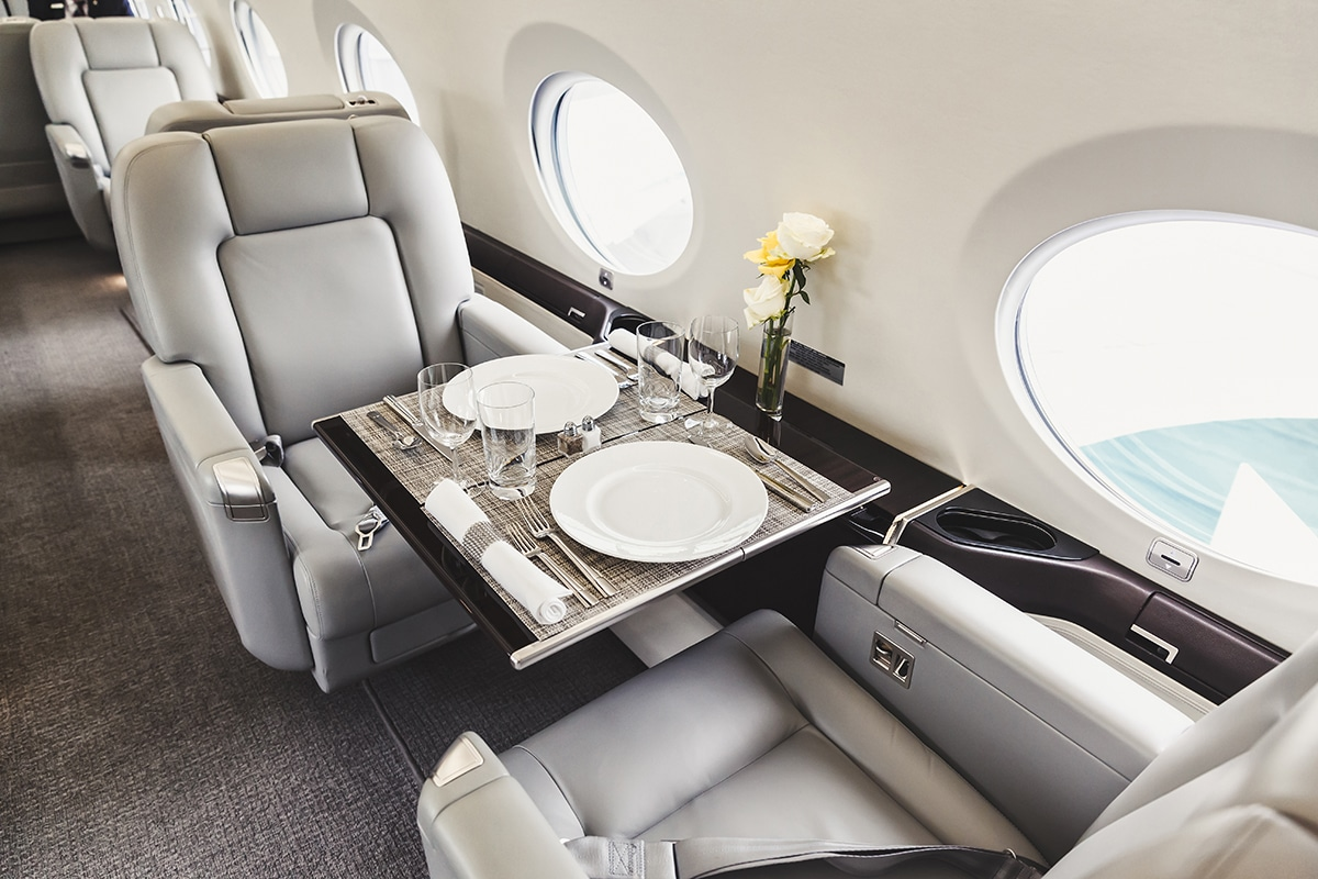 Table set for dinner on a private jet charter