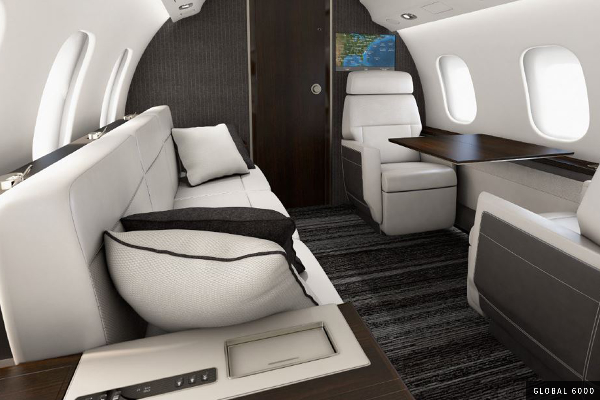 White and gray Heavy Cabin Global 6000 Interior