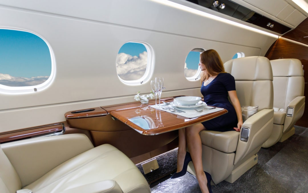 Private Jet Charter Interior with Champagne