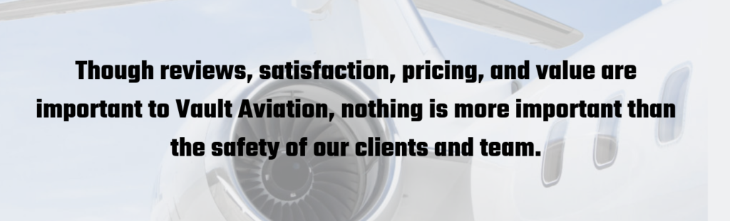 Vault Aviation Private Jet charter satisfaction graphic
