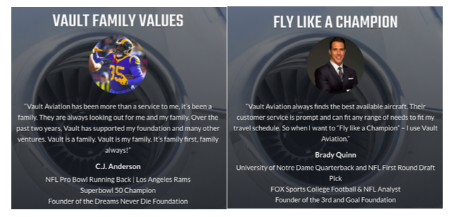 Vault Aviation family values graphic