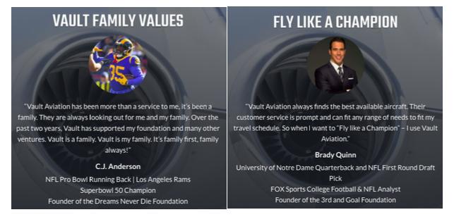 Vault Aviation family values graphic