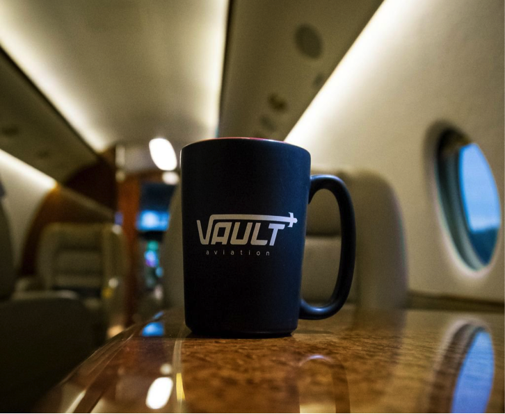 Vault Aviation Coffee Mug on a Private Jet
