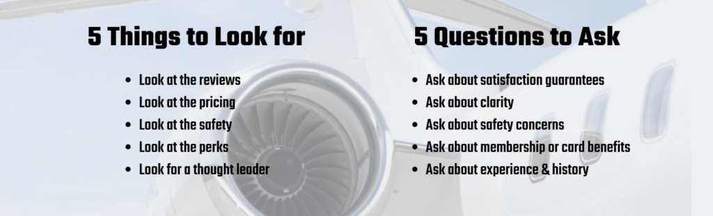 5 things to look for in a private jet charter graphic