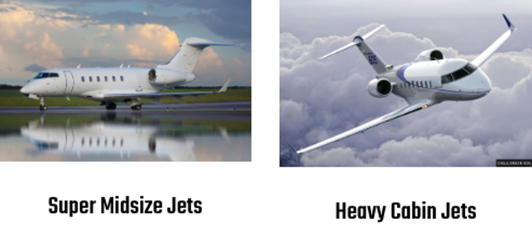 Super Midsize and heavy cabin jets