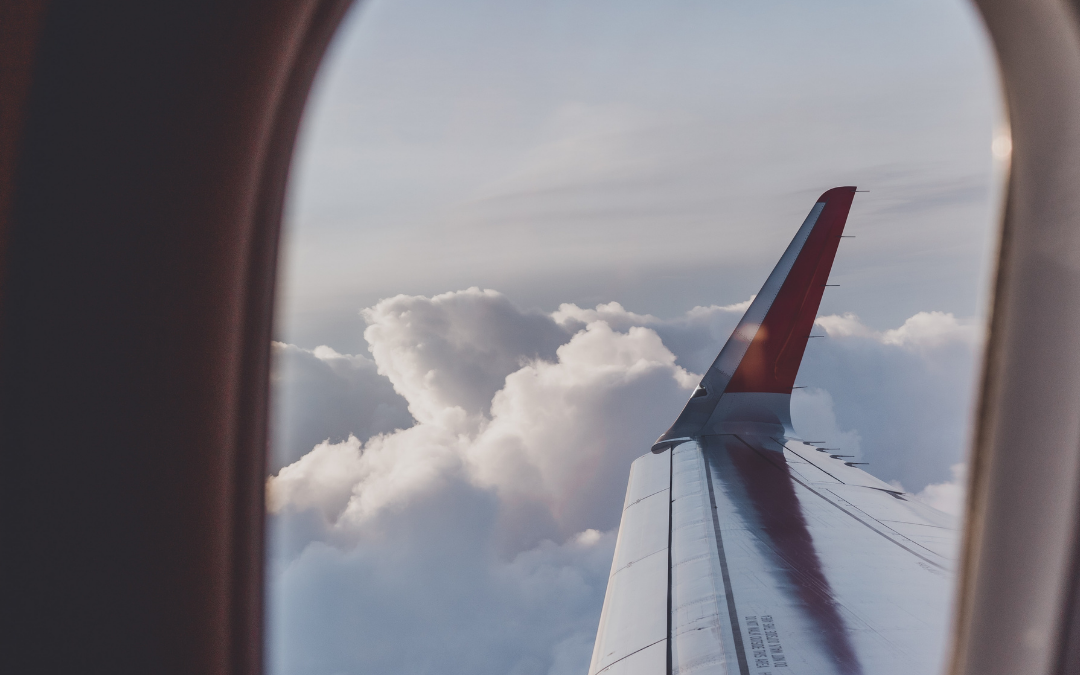 looking out the window of a private jet charter flying